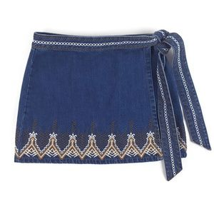 Free People Dream Away Embroidered Denim Skirt